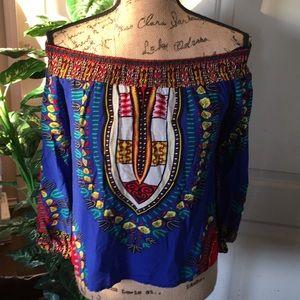 Love J Multicolor Off Shoulder Crop Peasan… Top S